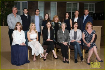 Featuring: Cast of Downton Abbey, Jim Carter, guest, Rob James-Collier, Sophie McShera, Lesley Nicol, Raquel Cassidy, Kevin Doyle and Hugh Bonneville. Front row: Phyllis Logan, Joanne Froggatt, Micom